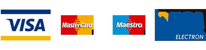 Logos targetes VISA, MasterCard i Maestro, acceptades
