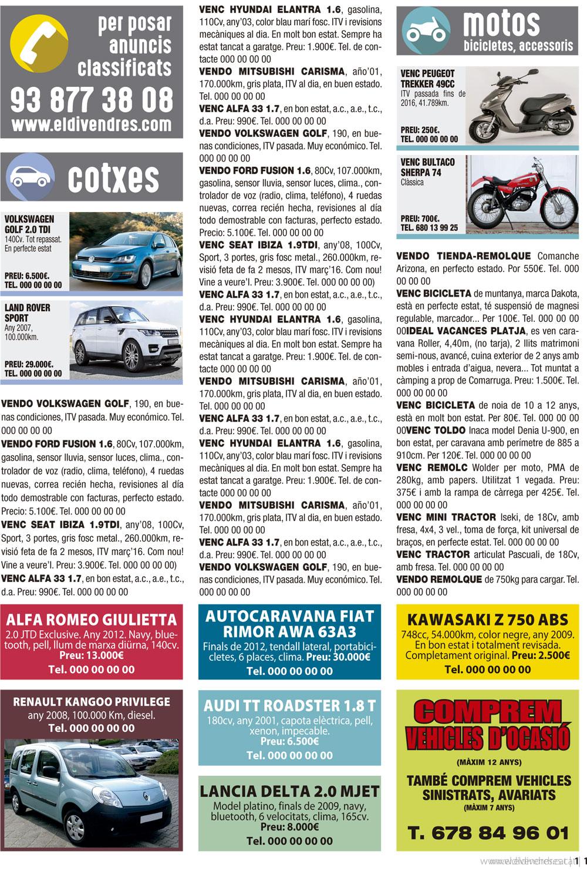 Ejemplo de página de la revista El Divendres